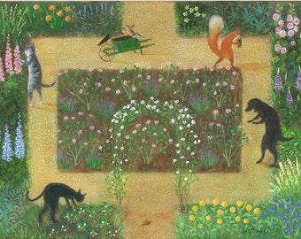"Art Print of an Original Animal Painting: ""The Rose Garden"""