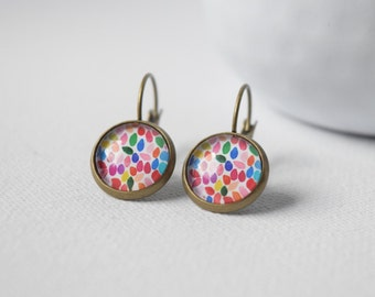 Earrings cabochons Multicolored Petals, Multicolored Confetti