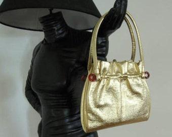 50s Gold Purse / Vintage Gold Purse / Large Gold Handbag / Vintage Gold Handbag