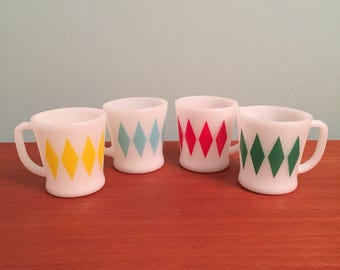Fire King D handle diamond mugs Turquoise Red Green Yellow Anchor Hocking Mid Century 1950s 50s
