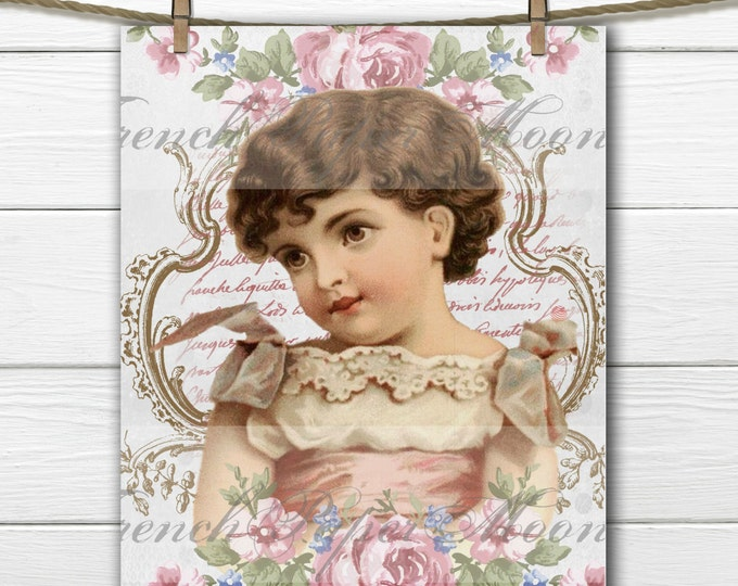 Digital Victorian Girl with Shabby Chic Roses, French Graphics, Instant Download French Pillow, Crafts Transfer Image