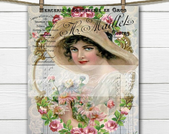Digital Shabby Victorian Lady, French Graphics, Roses, Lady with Hat, French Pillow Image, Graphic Transfer