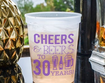 Personalized Cheers and Beers to 30 Years Stadium Cups, Custom Birthday Party Cups, Cocktail, Pool Side Cup, Party Favors