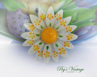 1950's Enamel Metal Layered Flower Pin Brooch, White, Yellow Enamel Daisy Flower Pin, West Germany Jewelry