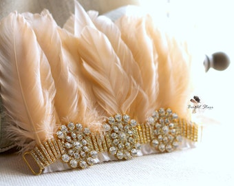 Feather headband Flapper - feather head dress - gold feather headband - head band with feathers - headdress feathers - gold crystal headband