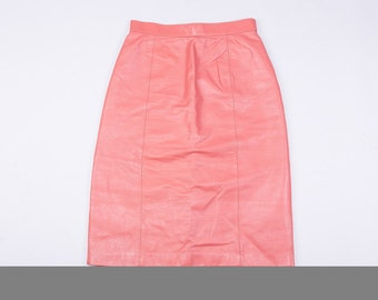 70's Wilson's Pink Leather Pencil Skirt