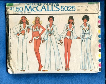 1970's McCall's 5025 Retro Beach Bikini Wide Leg Pants & Shirt Size 14