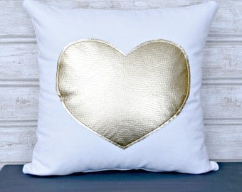 Wedding, Metallic Gold Heart Pillow cover, Decorative Pillow, Wedding Decor,  Metallic pillow, Gold pillow, Decorative Gold, Heart Pillow