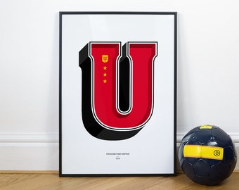 U is for United (Man United), Football Typography Print