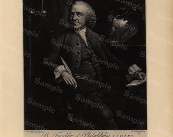 19th Century original antique portrait of Benjamin Franklin  Founding Fathers of the United States Large size black and white Lithograph