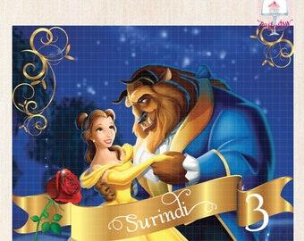 Beauty & The Beast Backdrop Banner - Printable Backdrop Banner