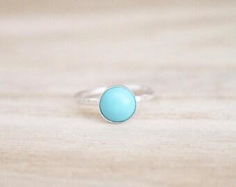 Turquoise ring, shimmer ring, stacking ring, sterling silver ring, silver ring, stacking ring, turquoise blue ring, blue ring, turquoise