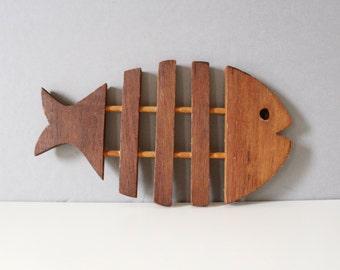 Vintage Teak Wood Fish Trivet Mid Century