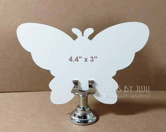 """Butterfly Wedding Favor Table Number Paper Butterfly Place Card 24 Die Cut White Butterfly Bride Groom Advice Butterfly Baby Shower (4.4x3"""")"""