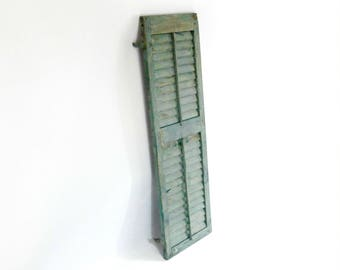 Antique Wooden Louvered Shutter, Original Dark Green Chippy Paint, Architectural Salvage