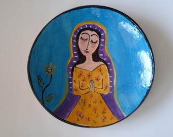 """OUR LADY of GUADALUPE Plate, Madonna Plate, 9"""" Art Plate,"""