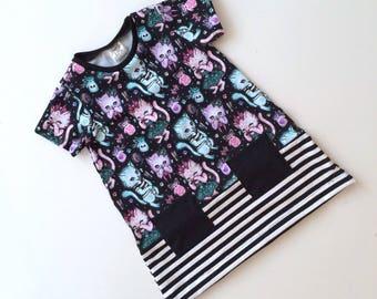 Modern tshirt dress, toddler dress, baby dress, comfy girls dress.