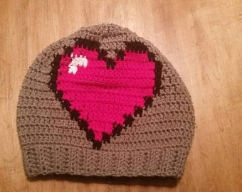 Large Heart Slouchy Hat