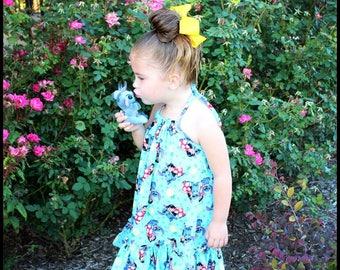 Girls Hawaiian Dress; Luau Dress; Disney Cruise Dress; MuuMuu; Lilo and Stitch Halter Dress; Infants, Toddlers, Girls