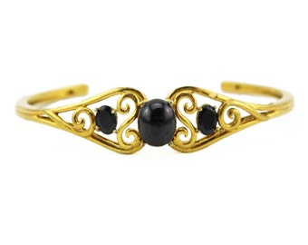 Gold Cuff Bracelet with Black Stones, Gold and Black Cuff Bracelet, Gold Bracelet with Black Stones