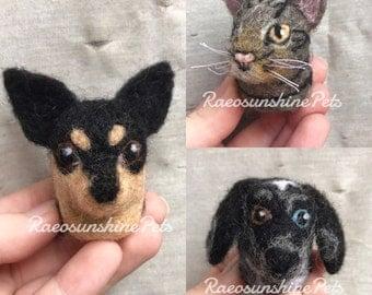 Custom Pet Portrait Sculpture, Pet Memorial, Needle Felted Dog Bust, Needle Felted Cat Bust, Rear View Mirror Charm, Custom Pet Ornament