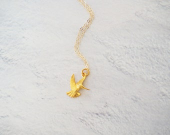 Gold Hummingbird Necklace, Gold Bird Necklace, Hummingbird Pendant