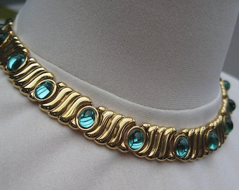 Vintage 80's Monet Gold and Green Choker Necklace - Very Dallas!