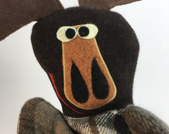Moose Puppet-- Made from felted wool sweaters--Free Shipping!
