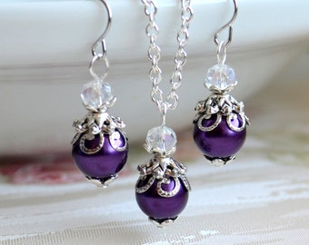 Purple jewelry set Bridesmaid gift set Purple necklace and earrings set Purple bridesmaid jewelry set Purple wedding jewelry set