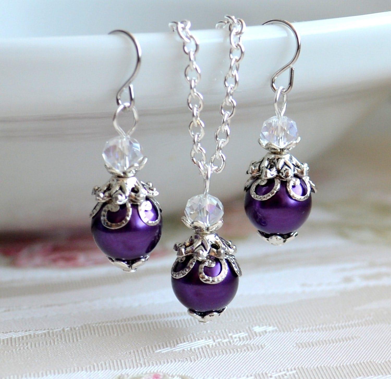 purple jewelry set bridesmaid gift set purple necklace and