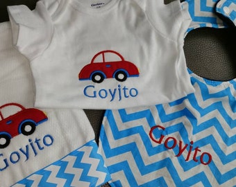 Car themed embroidered baby gift set boy car transportation bodysuit, bib and burp cloth set personalized