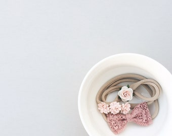 Baby bows, flower headband, mauve bow, lace, blush, toddler bows, baby accessories