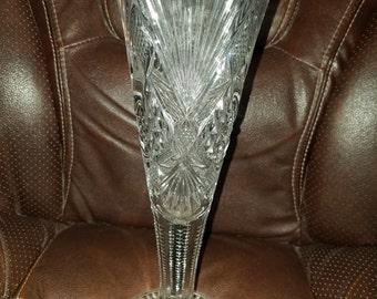 "Vintage Cut Glass Vase 12"""