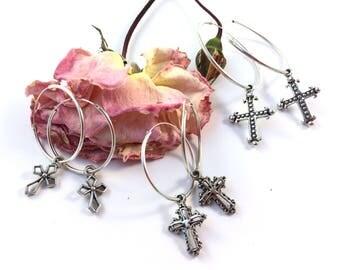SS CROSS HOOPS, Ball Cross, Luna Cross, Bones cross, Sterling silver hoops, silver hoop earrings, hoop earrings, silver earrings