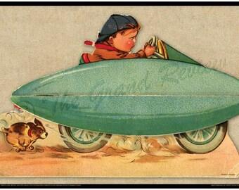 Vintage Car Print - Zeppelin Racer - Belly Tank Racer - Early 20th Century
