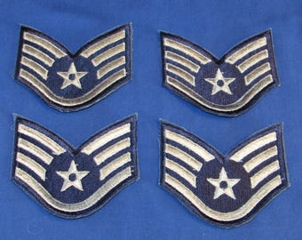 USAF ENLISTED RANK Insignia Patches E-5 Staff Sergeant Set of 4 Air Force