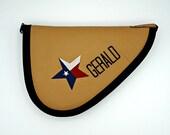Custom Texas Star Cognac Leather Handgun Case