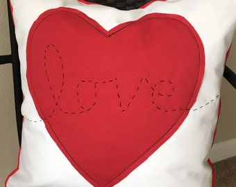 Valentines Pillow Cover 20 x 20 inch Pillow Cover Heart Pillow Cover Red White Pillow Cover Love Pillow Cover Red Heart Pillow Cover