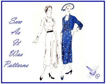 "1950s FF Unused Vogue 6995 Scoop Neck Side Gathered Neckline Flared Dresses Crop Bolero Jackets Vintage Sewing Pattern Size 18 Bust 36"" 92cm"