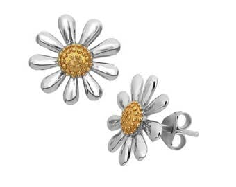 Silver Daisy Earrings with 18ct Gold Plated Centres (Largest Size 13 mm)