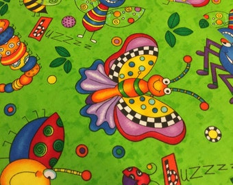 Happy Bugs Fabric - C 2602 by Timeless Treasures 100% Quality Cotton Yardage