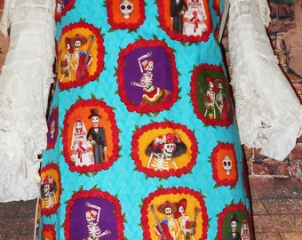 One of a Kind Handmade Womens Apron DIA de LOS MUERTOSDay of Dead Wedding Skeletons Marriage Bride Groom Fully Reversible