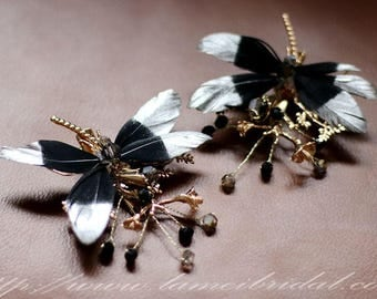 Black Butterfly Hair Pin set ,  Demon queen hair Accessory Great for  Gothic Wedding, Bridal Black head Piece , Butterfly hair clip