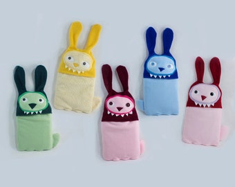 Cozy covers - Angry Bunnies! - Hot Water Bottle covers - Hypoallegenic Fleece - Easy care