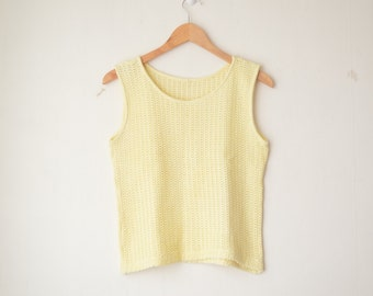 pastel yellow minimal structured knit tank top 80s // S-M