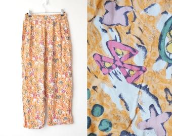 high waist abstract print culotte wide leg pant 80s // M