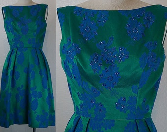 1960s Sequin Green Blue Brocade Dress XS/S