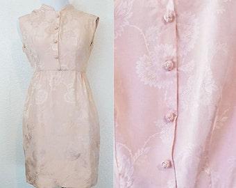 SALE 1960s Pink Silk Brocade Mandarin Dress XXS/XS
