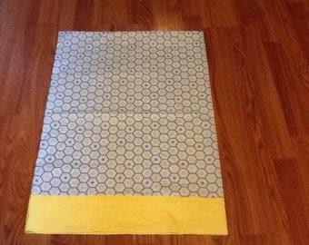 Standard size pillow case -Geometric print with yellow trim