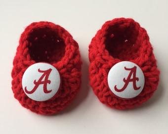 Alabama Crimson Tide baby booties, Crimson Tide baby gift, baby shoes, crochet baby booties, booties for baby, crochet baby shoes